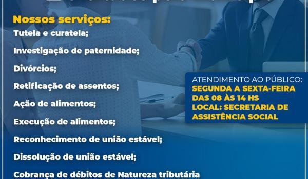 Imagens da Você Sabia que a Secretaria de Assistência Social oferece serviços de Assistência Jurídica