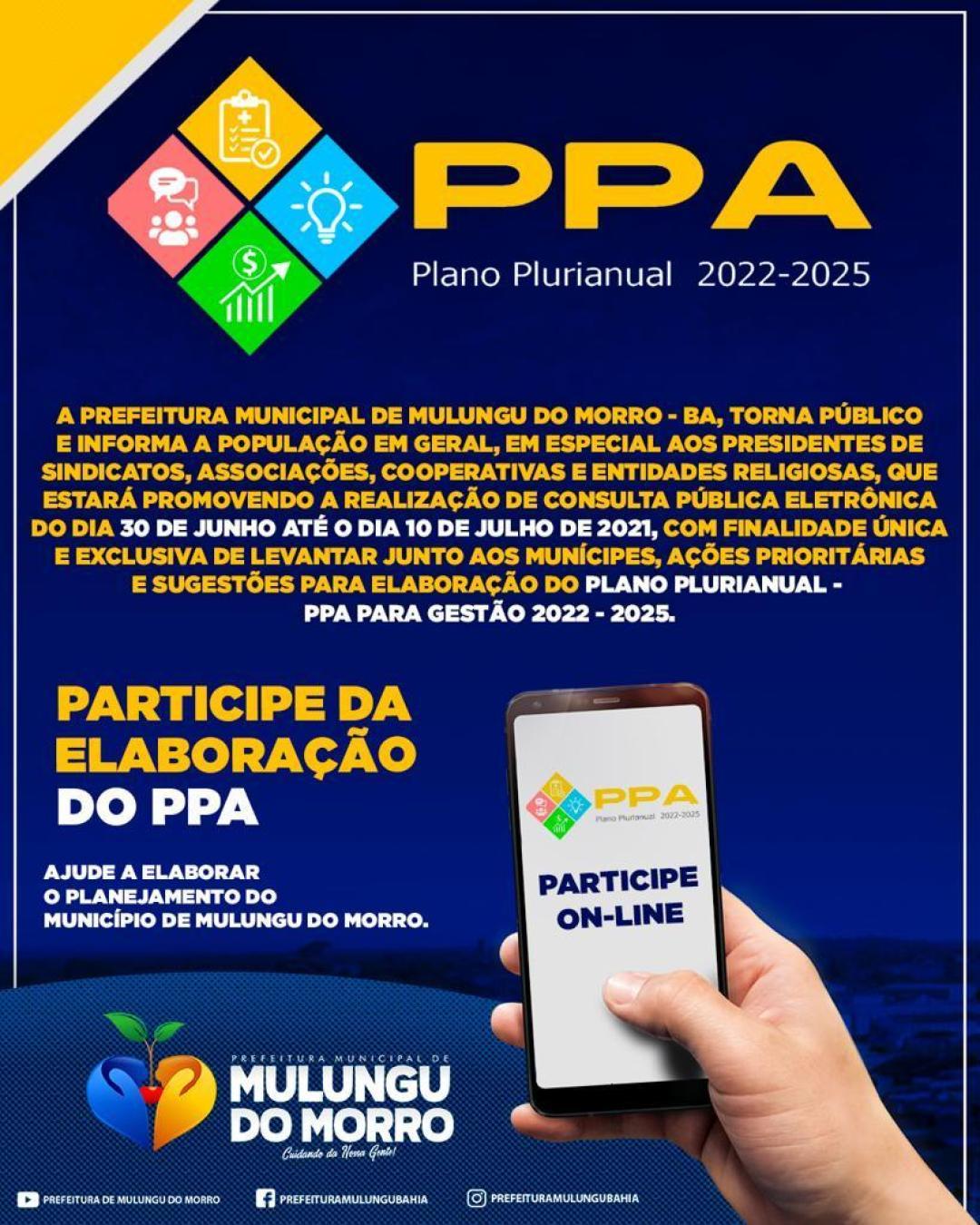 CONSULTA PÚBLICA – PPA 2022 – 2025.